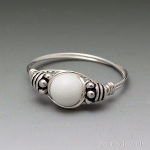 White Agate Bali Ring
