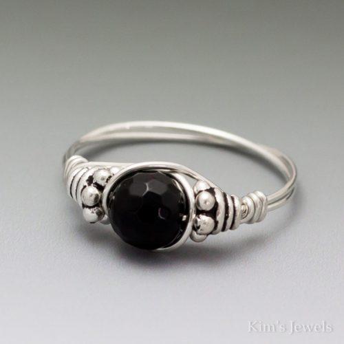 Black Onyx Facet Bali Ring