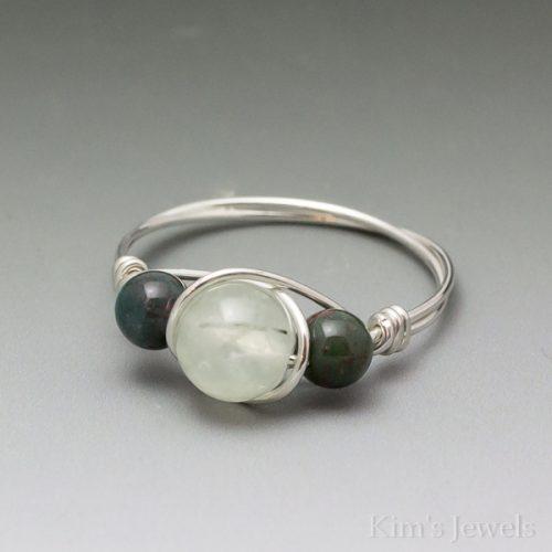 Prehnite & Bloodstone Ring