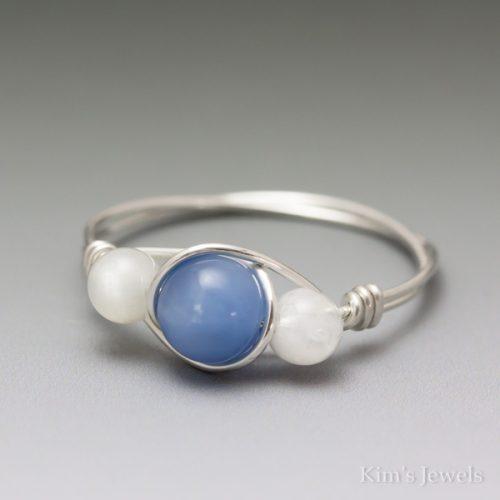 Blue Quartz & Moonstone Ring