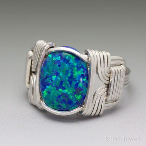 Dark Blue Man-Made Opal Ring
