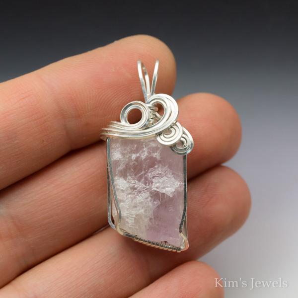 Pink kunzite crystal sterling silver wire wrapped pendant kims jewels pink kunzite crystal sterling silver wire wrapped pendant mozeypictures Gallery